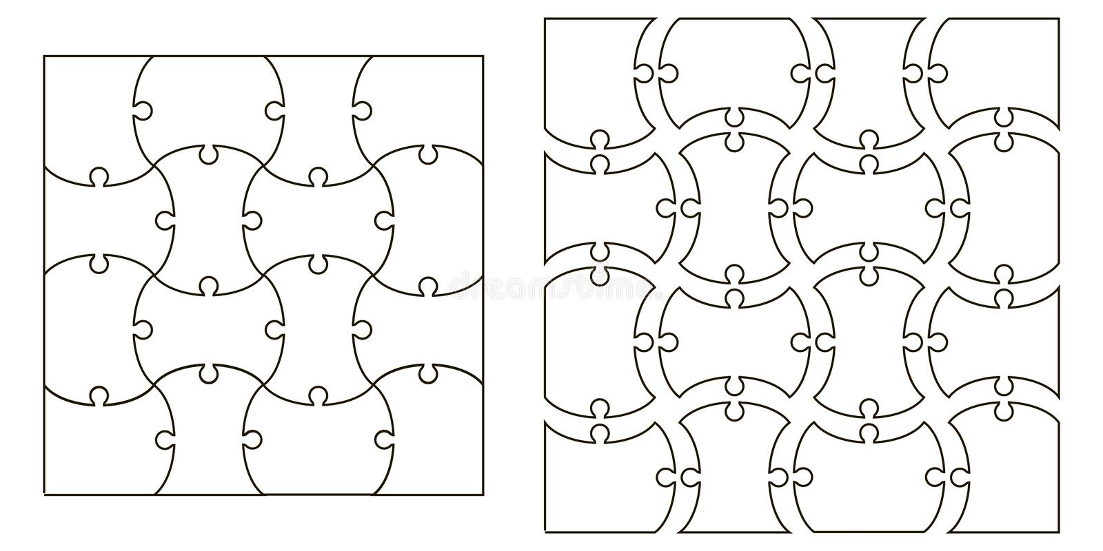 Set the template Puzzle Pieces, vector set for creating complex jigsaw puzzle pieces, image applicable to several concepts vector illustration
