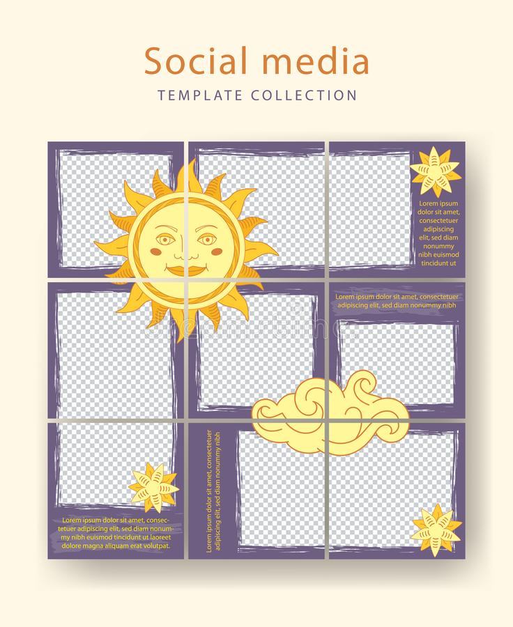 Set of template for social networks stories and posts stock images