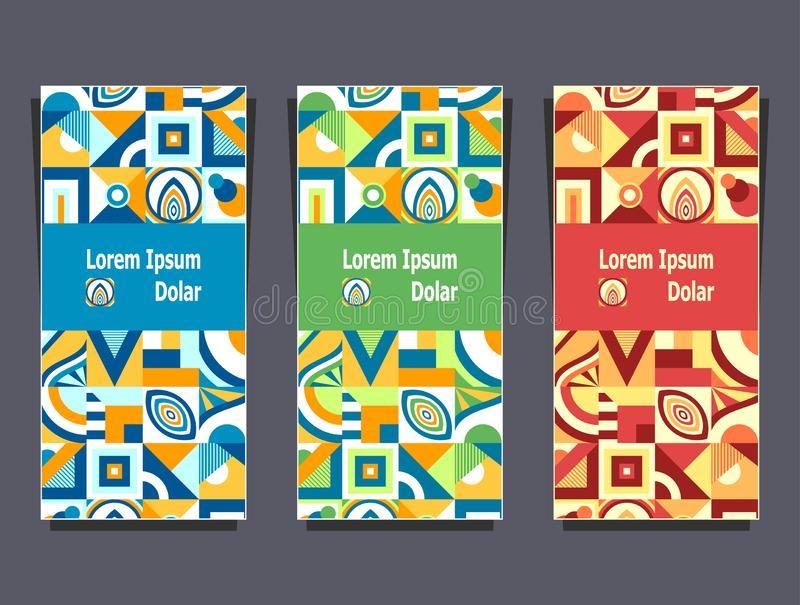 Set templates with abstract geometric pattern colorful colors vector illustration