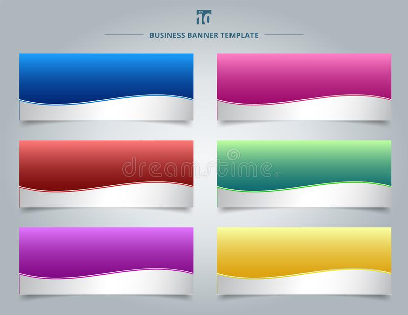 Set of templates business banner web design abstract stripe wave royalty free illustration