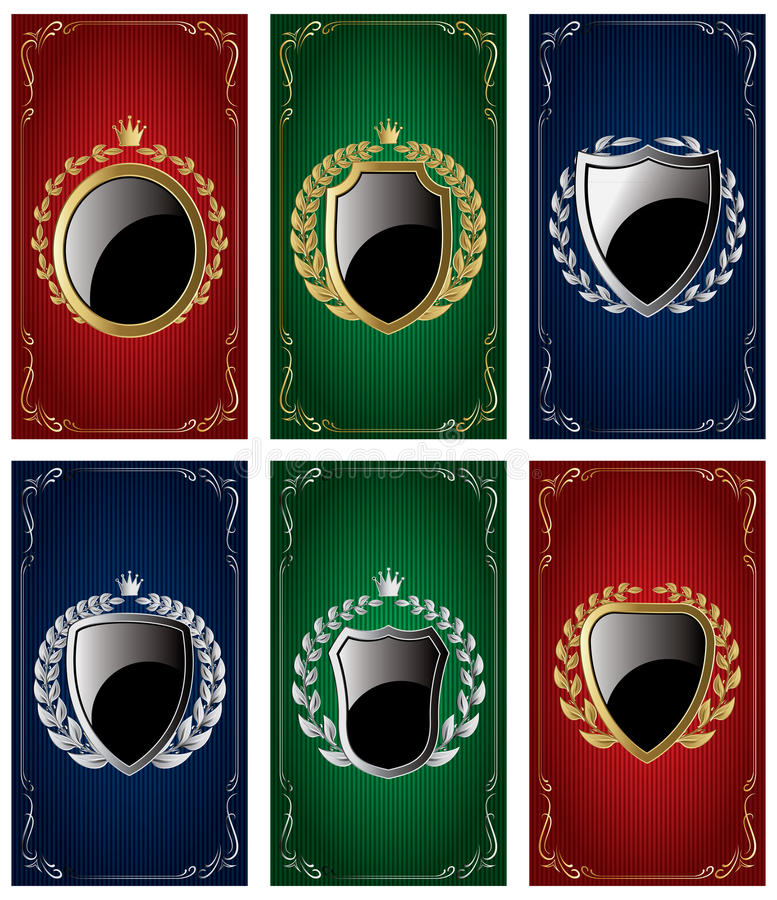Set templates for business cards with Heraldic elements and wreaths royalty free illustration