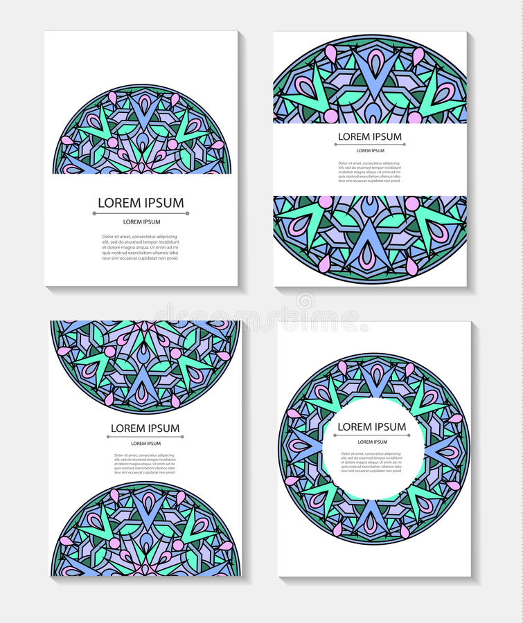 Set Templates Business Cards And Invitations With Circular ...