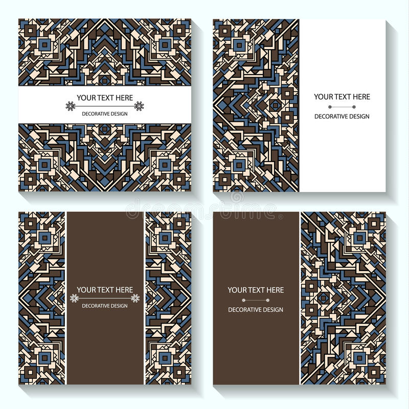 Set templates business cards and invitations with ethnic patterns. Corporate style for your document. S. Vector illustration vector illustration