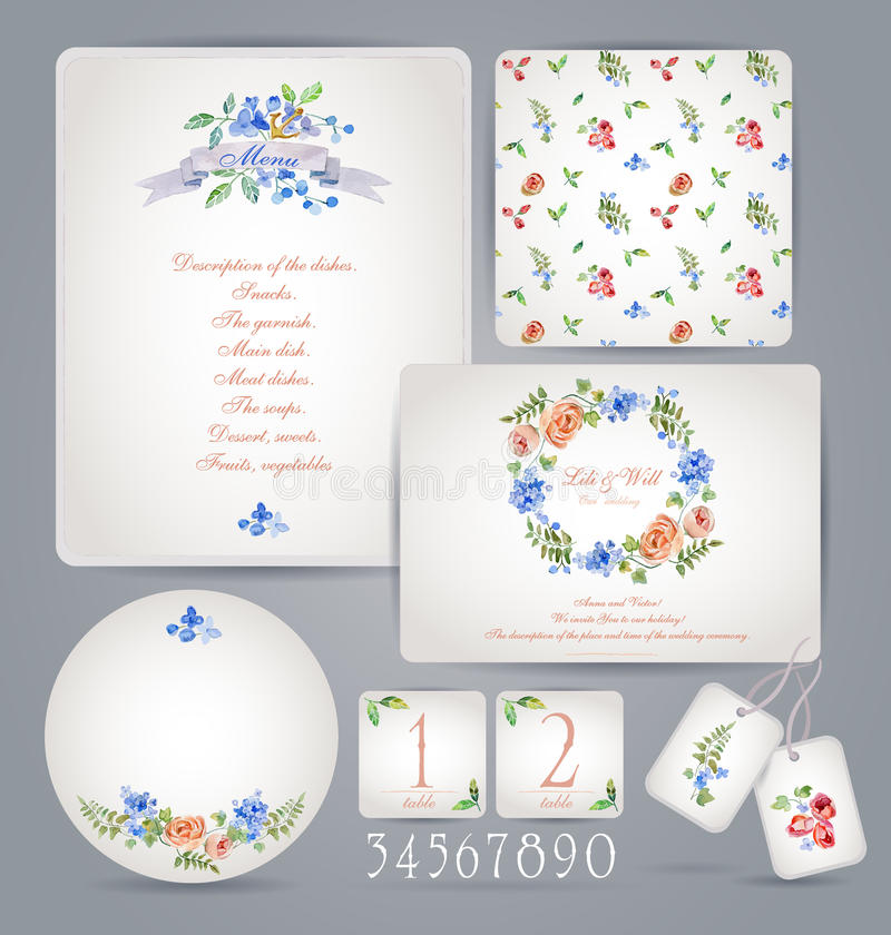 Set of templates for celebration, wedding. Invitation card, letterhead, numbering for tables and different elements. Watercolor flowers background. Vintage vector illustration