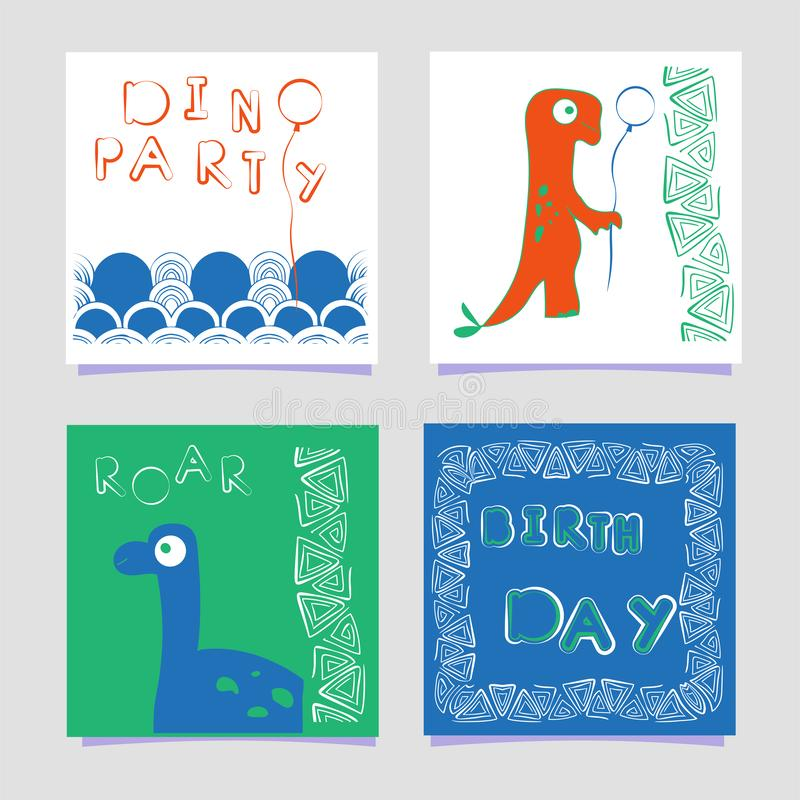 A set of templates dino print lettering cards. Dinosaur with a balloon. In doodle style. Hand drawn poster for birthday stock illustration