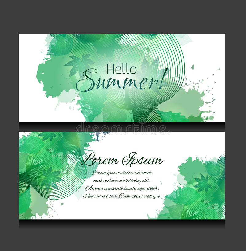 Set of templates of horizontal banners with green leaves royalty free illustration