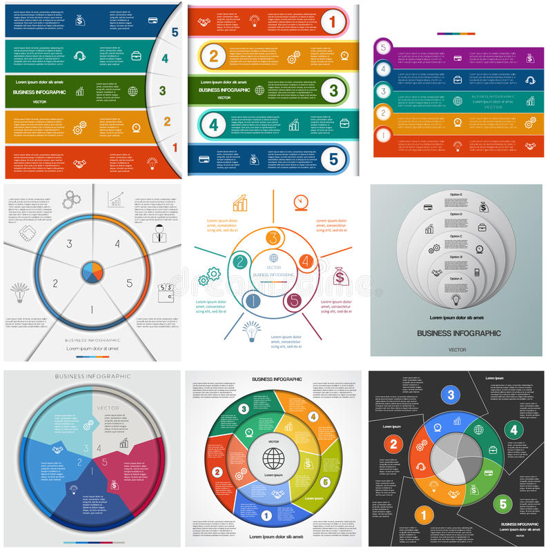 Set templates Infographics cyclic processes on five positions royalty free illustration