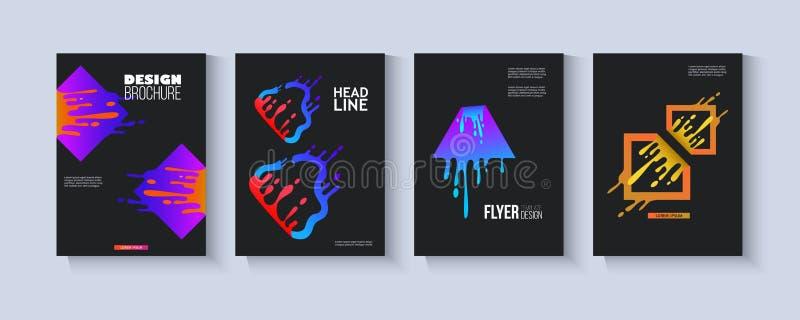 Set of templates with logo neon splashes elements flat vector illustration. vector illustration