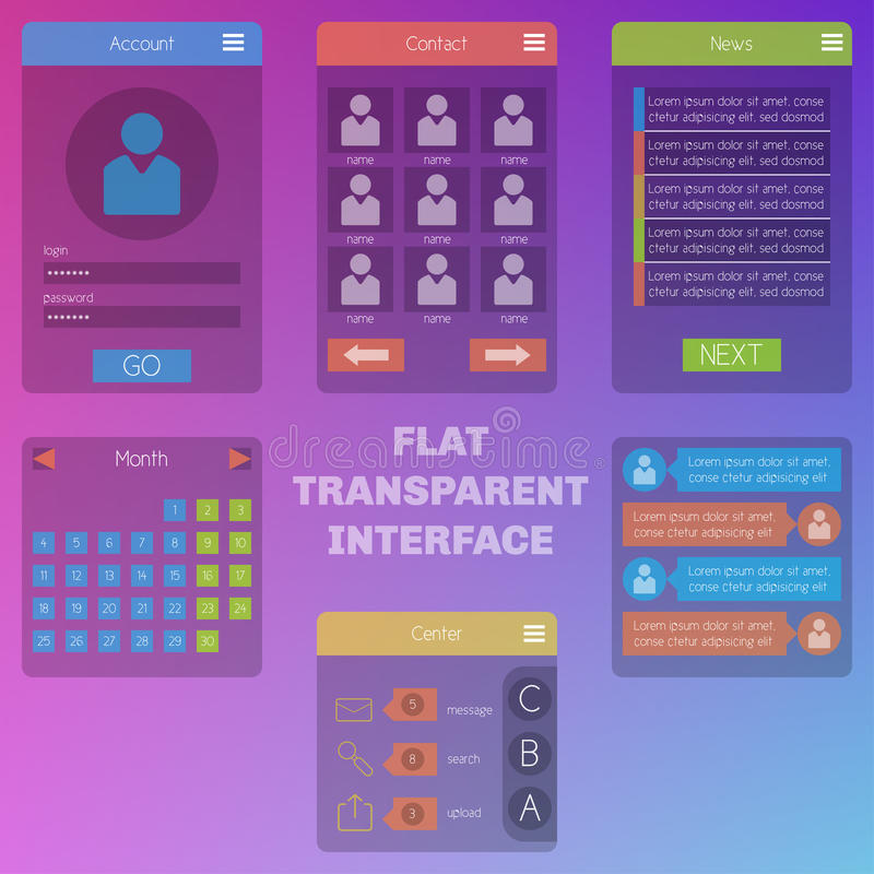 Set of templates mobile interface. Flat and transparent UI/UX. C. An be used in mobile, tablet or web parts. Clean and simple vector illustration