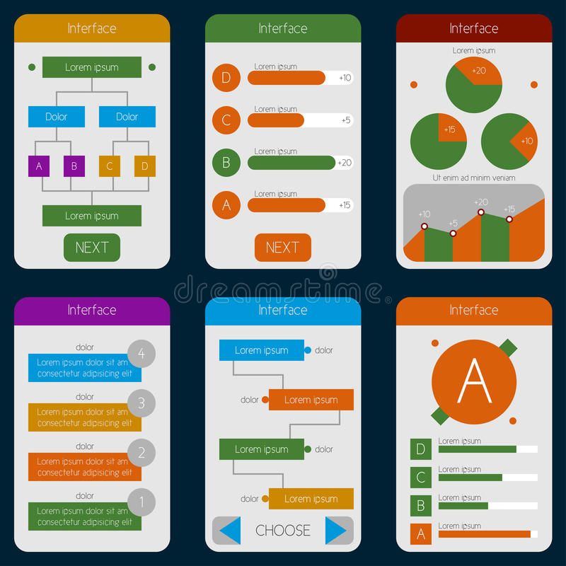 Set of templates mobile interface. Flat UI/UX. Can be used in m. Obile, tablet or web parts. Clean and simple vector illustration