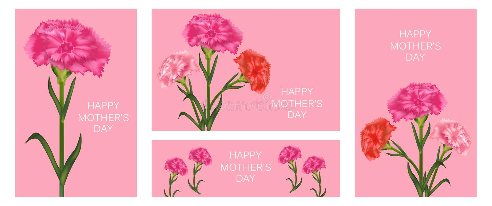 Set of templates for Mother`s Day with carnation. Banner, poster or greeting card. Vector vector illustration