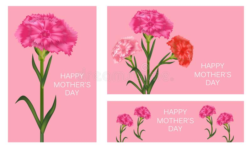 Set of templates for Mother`s Day with carnation. Poster, banner or greeting card. Vector stock illustration