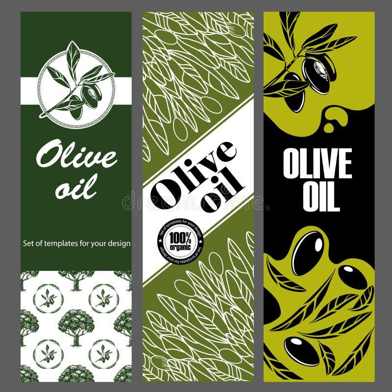 Set of templates for olive oil. Hand drawn illustrations. vector illustration