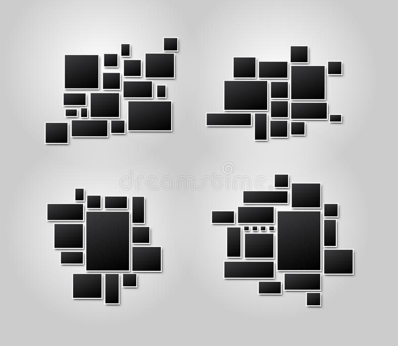 Set of templates photo collage image frames for photo or picture montage. For your design picture montage abstract. Vector. Illustration. Isolated on white stock illustration