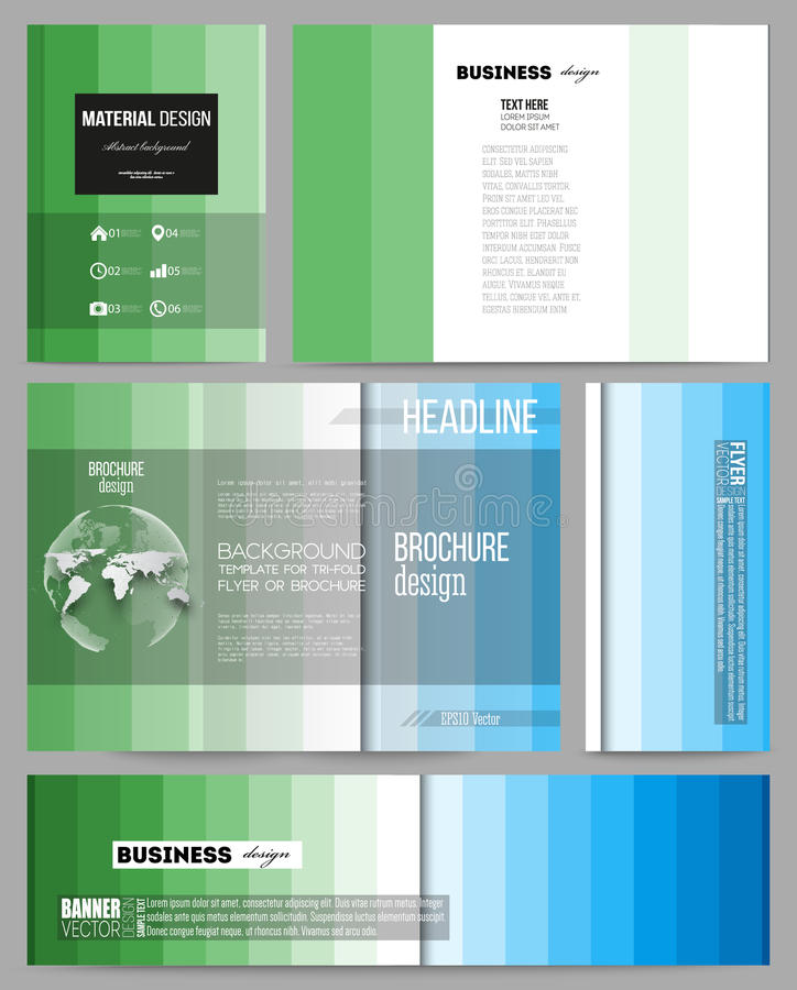 Set of templates for presentation, brochure, flyer or booklet. Abstract colorful business background, blue and green. Set of business templates for presentation vector illustration