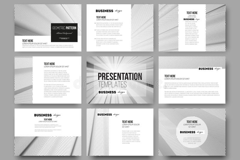 set of 9 templates for presentation slides abstract lines background simple monochrome texture stock vector illustration of brochure