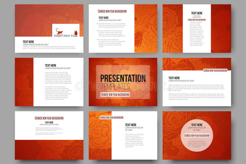Set of 9 templates for presentation slides. Chinese new year background. Floral design with red monkeys, vector vector illustration