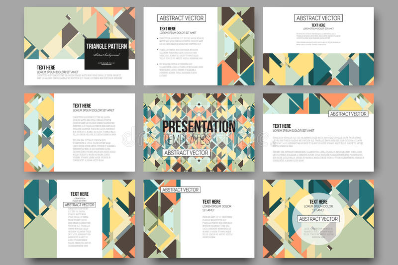 Set of 9 templates for presentation slides. Material Design. Colored vector background stock illustration