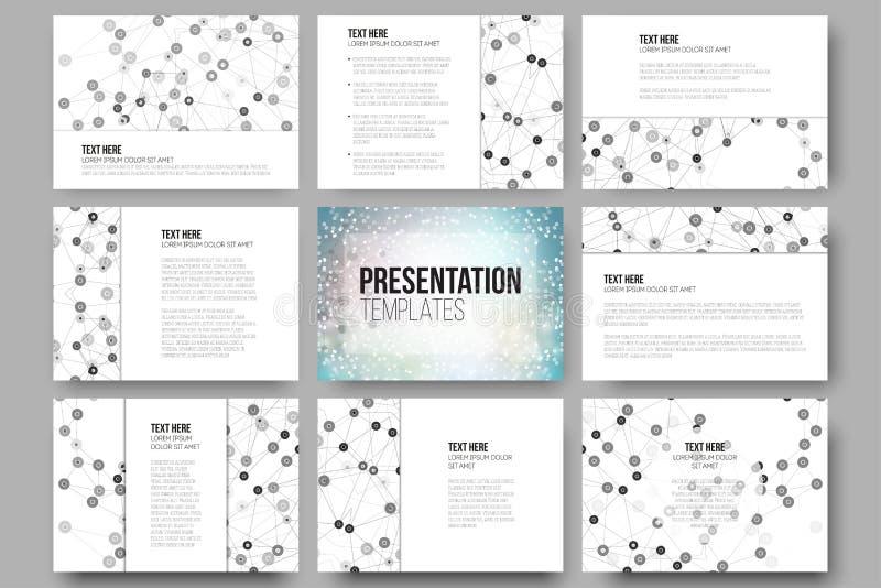 Set of 9 templates for presentation slides royalty free illustration