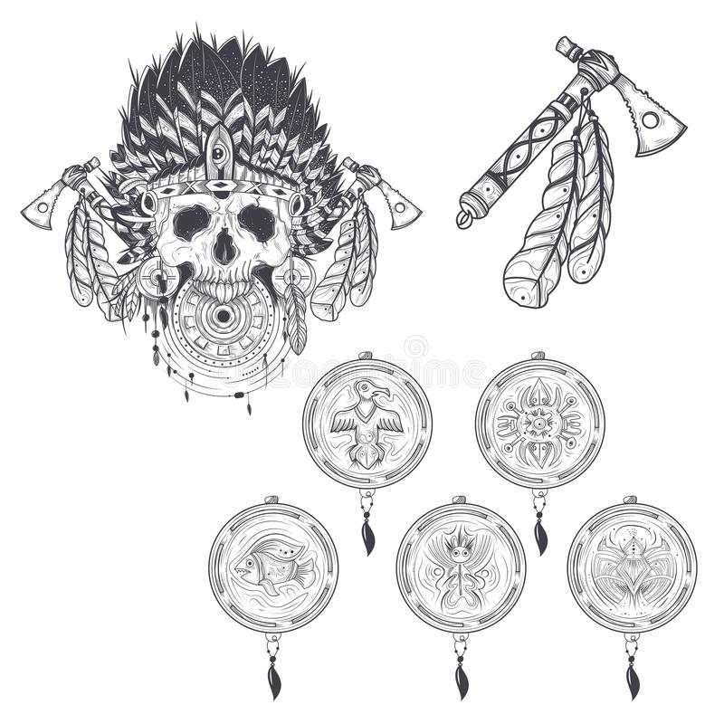 Set Of Templates For A Tattoo With A Human Skull In An Indian ...