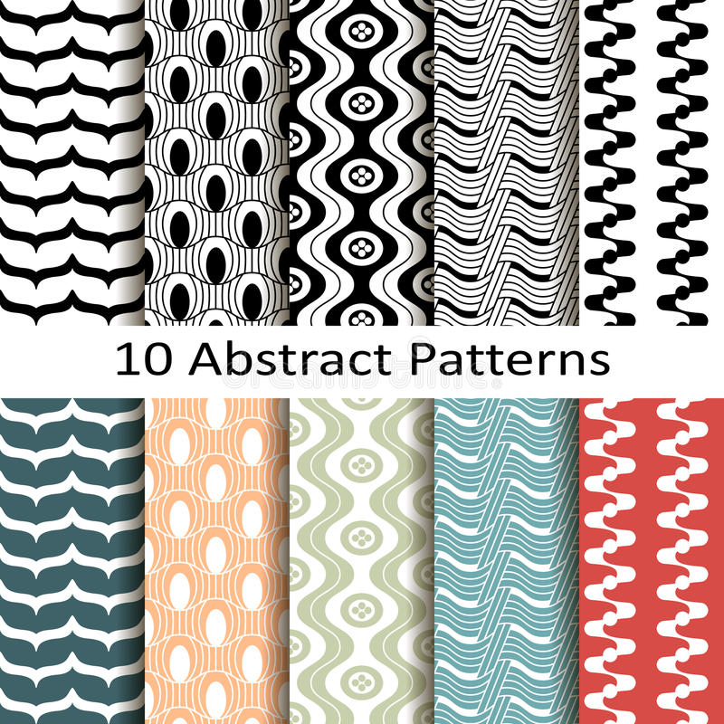 Set of ten abstract patterns. Vector Set of ten abstract patterns vector illustration