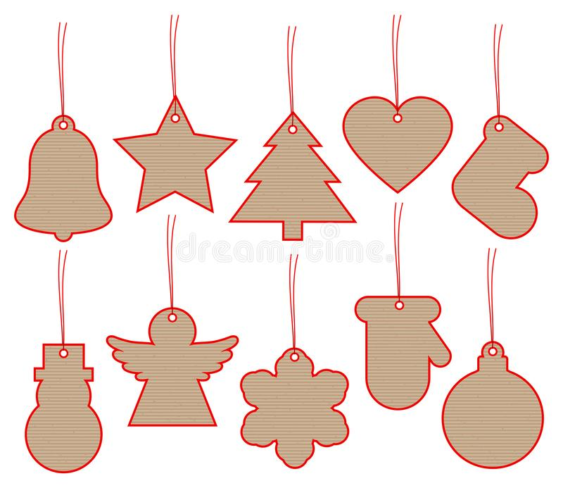Set Of Ten Christmas Hangtags Brown Paper With Red Frame. Collection Of Ten Christmas Hangtags Brown Paper With Red Frame vector illustration