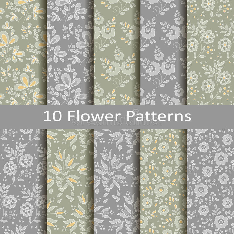 Set of ten flower patterns vector illustration