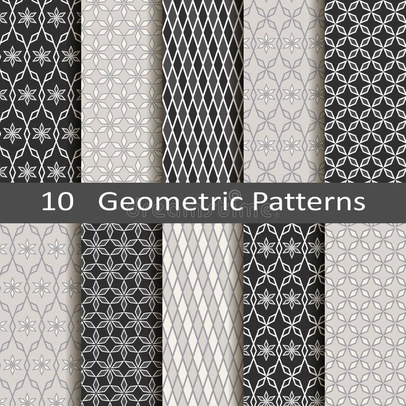 Set of ten geometric patterns royalty free illustration