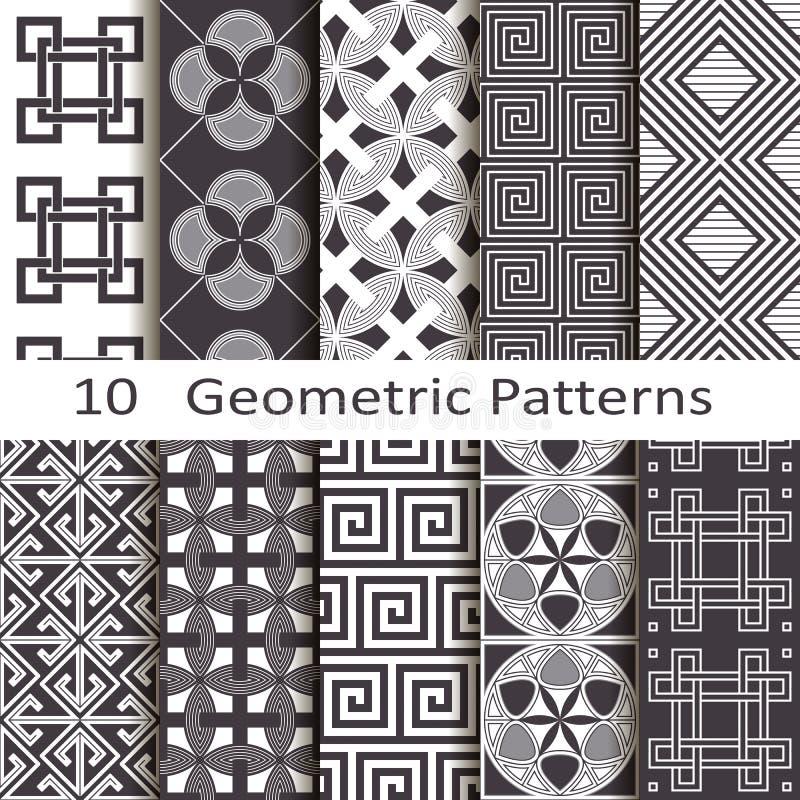 Set of ten geometric patterns stock illustration
