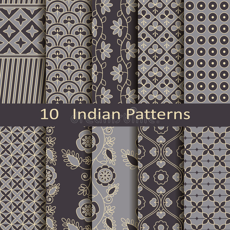 Set of ten Indian patterns royalty free illustration