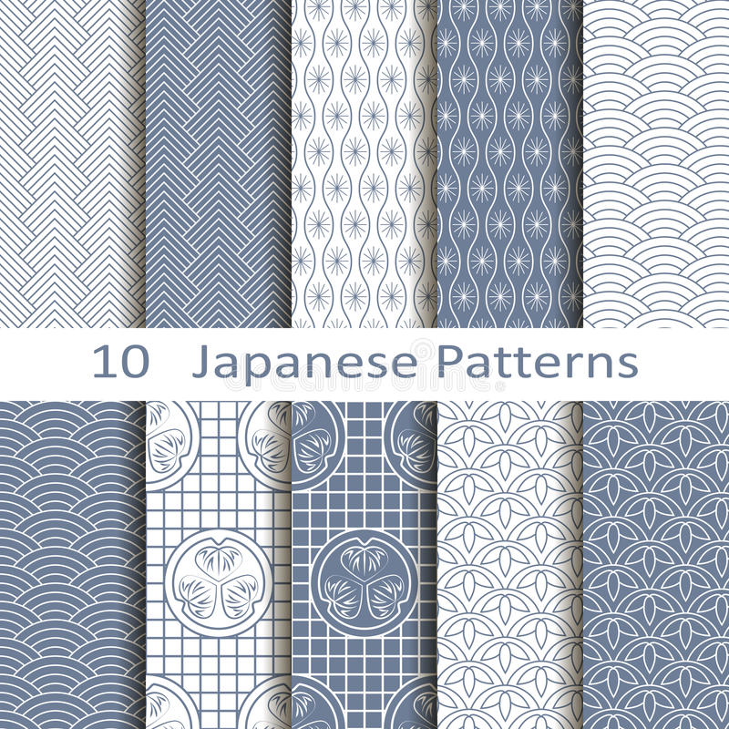 Set of ten Japanese patterns vector illustration