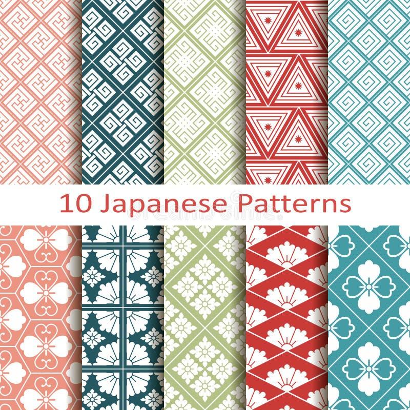 Set of ten japanese patterns vector illustration