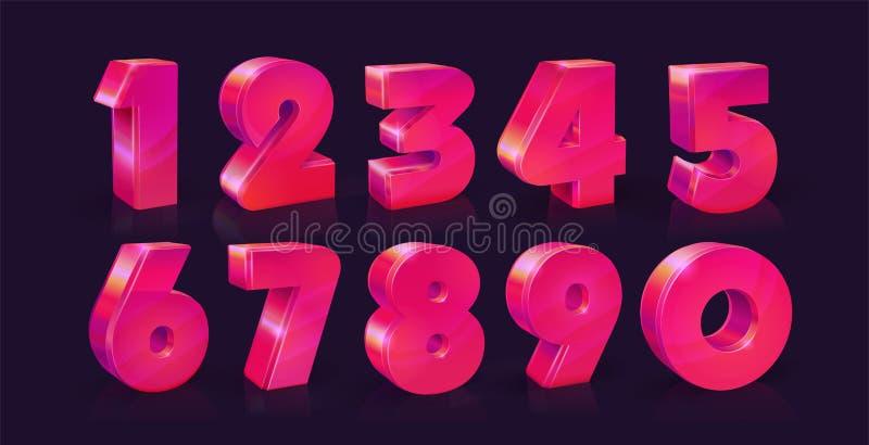 Set of ten numbers form zero to nine, Vivid neon pink on dark background. Vector illustration. Set of ten numbers form zero to nine, Vivid neon pink on dark royalty free illustration
