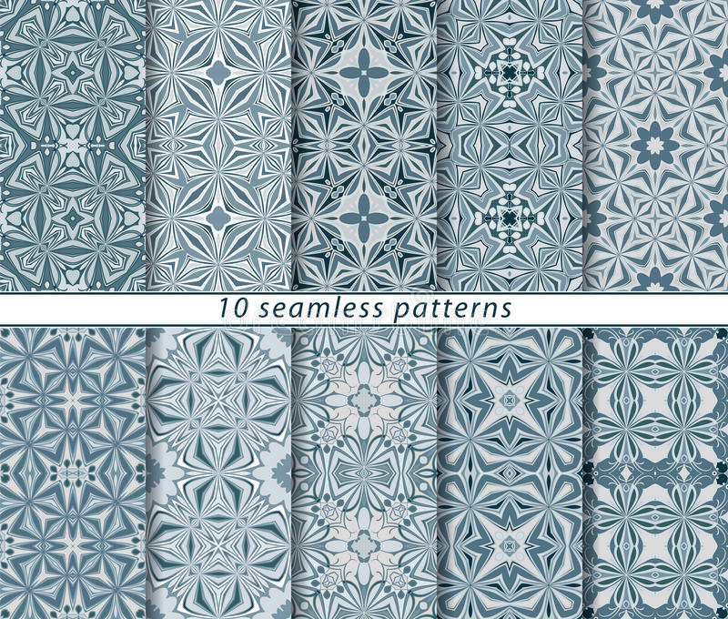 Set of ten seamless abstract patterns. Set of ten classic seamless patterns in shades of blue and white. Decorative and design elements for textile, book covers royalty free illustration