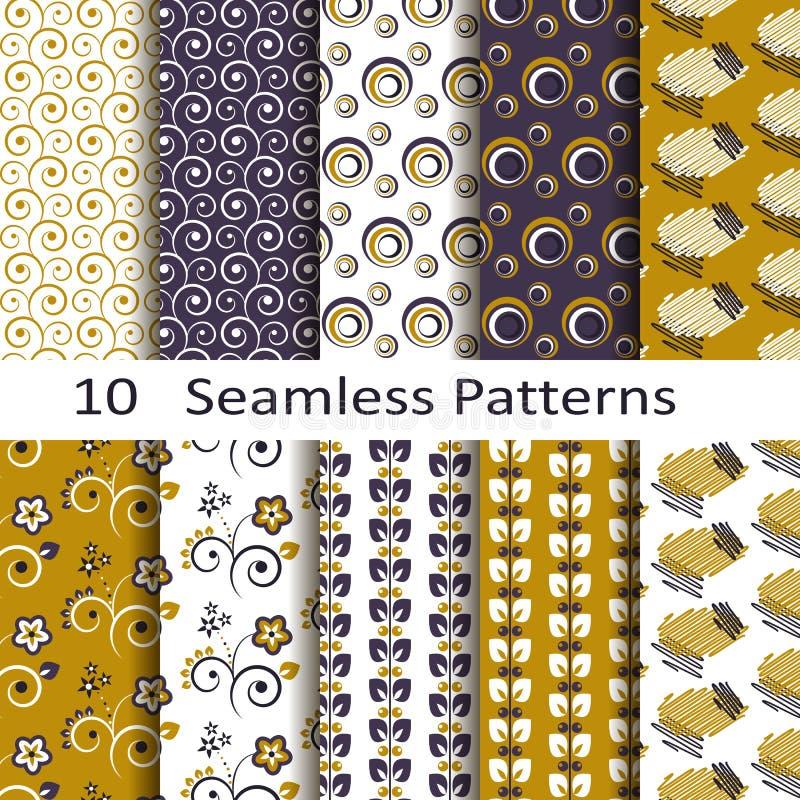 Set of ten seamless patterns vector illustration