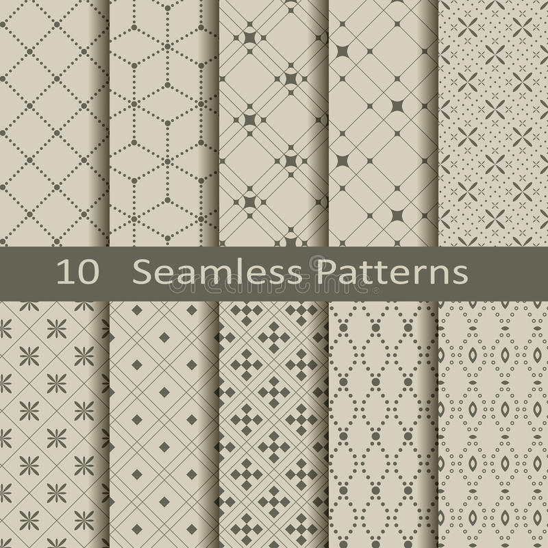 Set of ten seamless patterns royalty free illustration