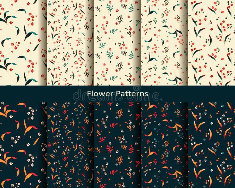 Ten seamless vector flower patterns. seamless template in swatch panel. design for textile, print, wrapping. Set of ten seamless vector flower patterns. seamless stock illustration