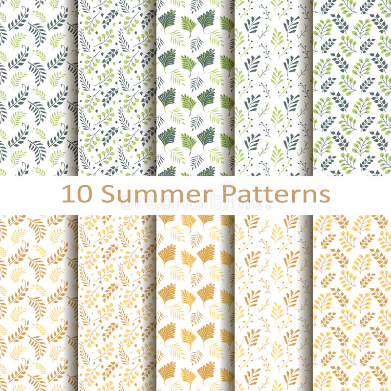 Set of ten summer patterns vector illustration