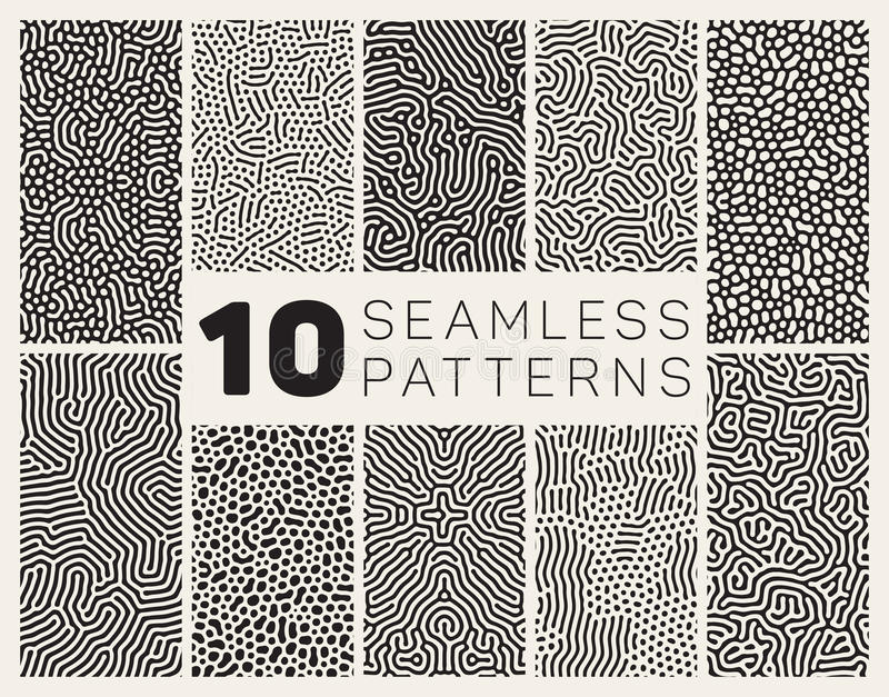 Set of Ten Vector Seamless Black and White Organic Rounded Jumble Maze Lines Patterns stock illustration