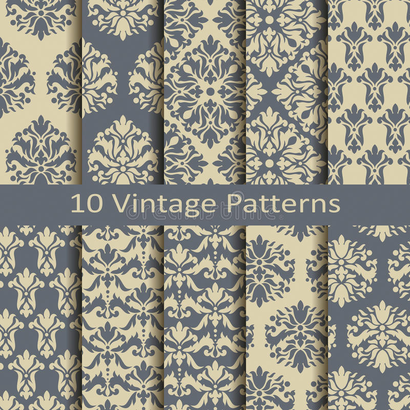 Set of ten vintage patterns royalty free illustration