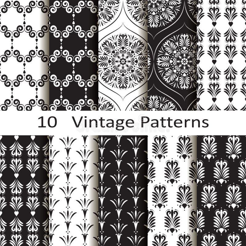 Set of ten vintage patterns. Set of ten vector vintage patterns stock illustration