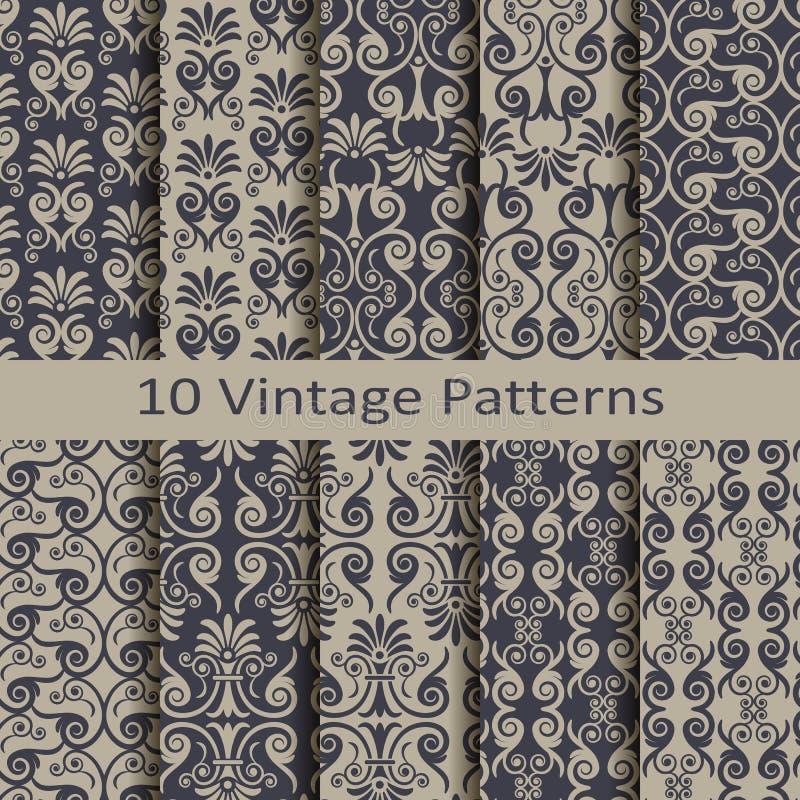 Set of ten vintage patterns. Set of ten vector vintage patterns vector illustration