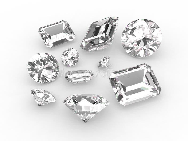 Set of ten white diamonds royalty free stock photography
