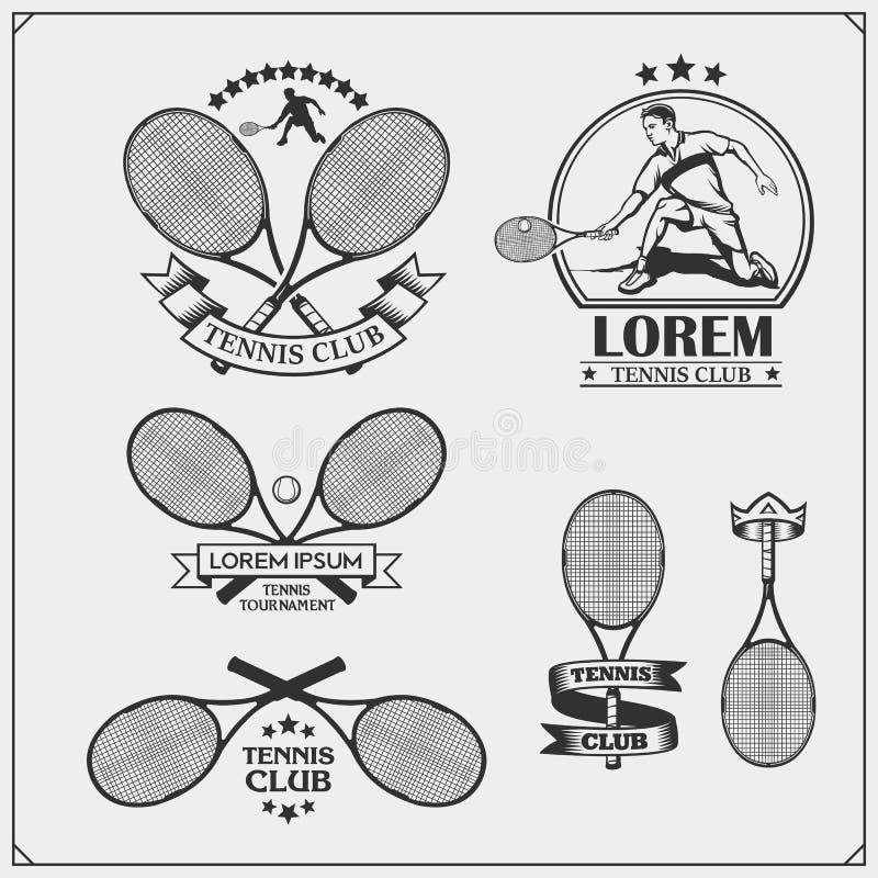 Set tenis etykietki, odznaki, emblematy i projektów elementy, ilustracji