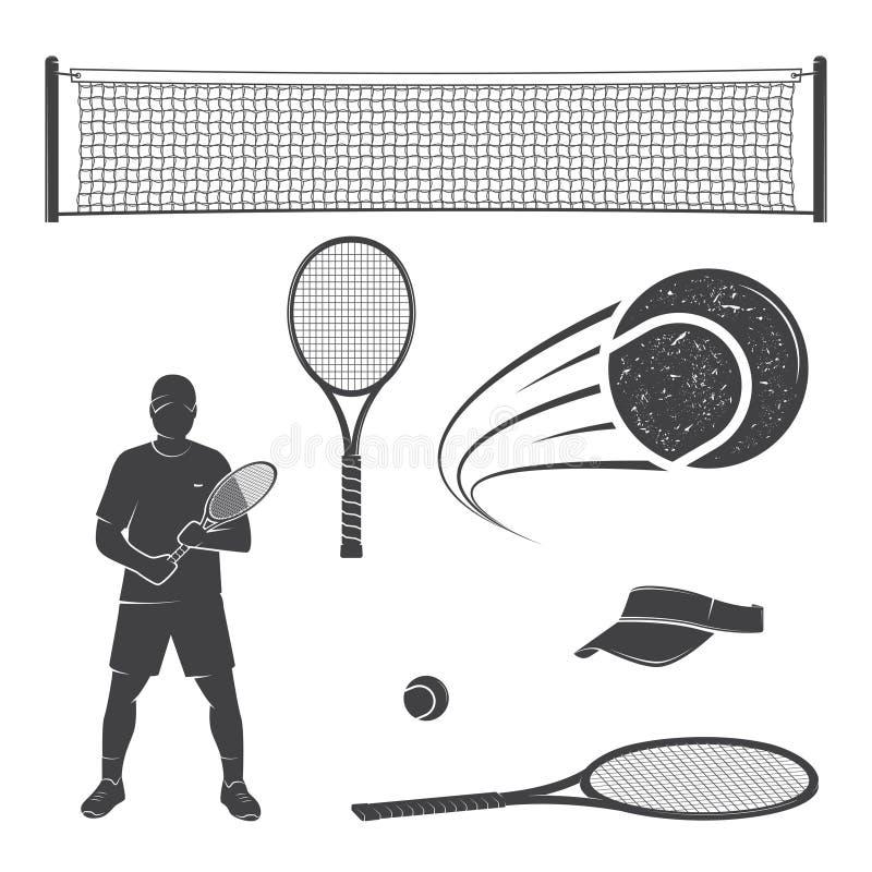 Set tenisowe wyposażenie sylwetki ilustracja wektor
