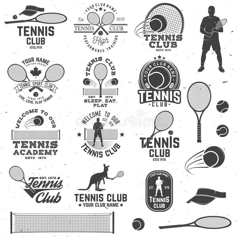 Set of Tennis club badges with design element. Vector illustration. stock illustration