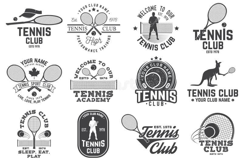 Set of Tennis club badges stock illustration