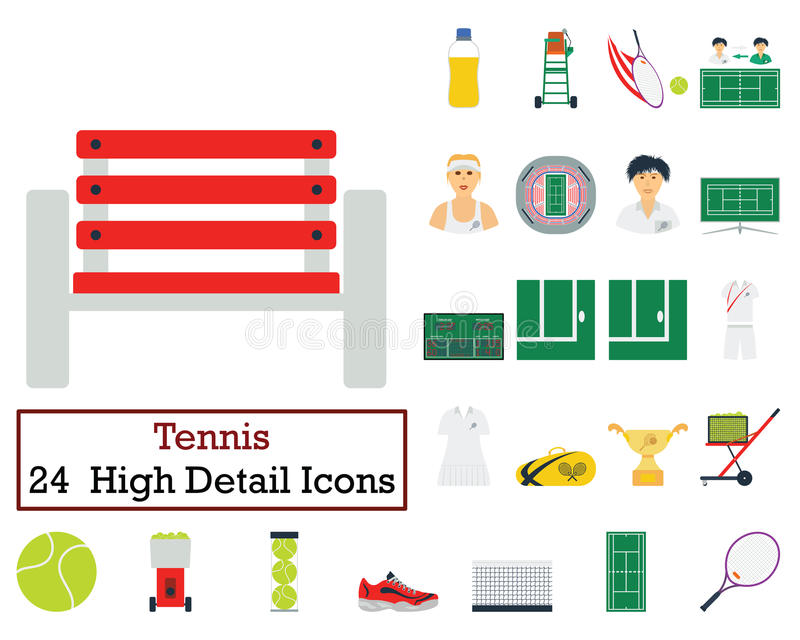 Set of 24 Tennis Icons. Flat color design. Vector illustration vector illustration