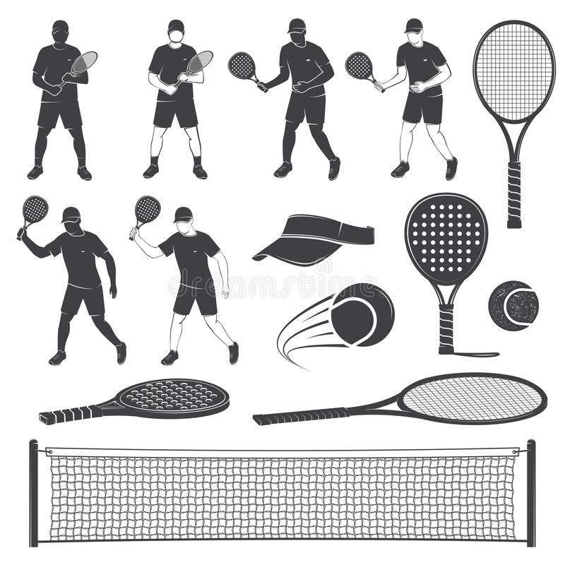 Set of tennis and paddle tennis equipment silhouettes. Vector illustration. stock illustration