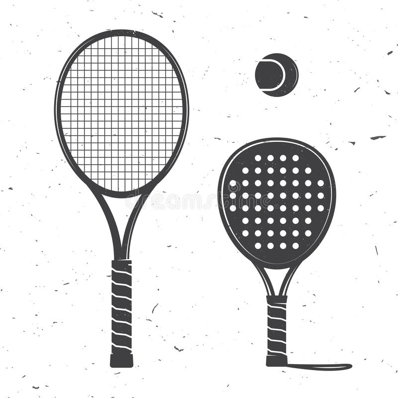 Set of tennis rackets and tennis ball icon. royalty free illustration